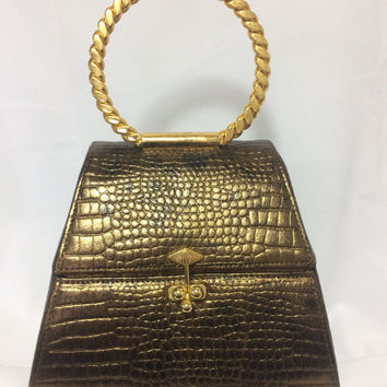 Vintage Charles Jourdan bronze gold croc embossed leather triangle shape vanity bag, party bag.