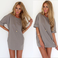 Fashion Summer Chiffon Casual Loose Round Necked One Piece Dress  _ 8399