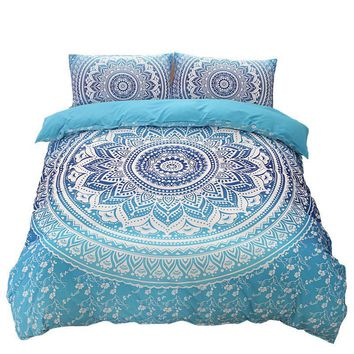 Bohemia Bedding Printing Blue Mandala Reversible Duvet Cover Set with Pillowcases Twin Queen King Size Bedclothes