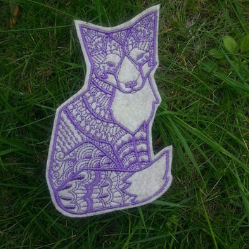 Iron On Patch Tribal Fox Applique in Sand and Lilac
