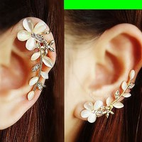 Cat's Eye Gem Flower Ear Cuffs (Pair, No Piercing)