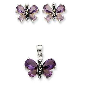 Sterling Silver Marcasite and Purple CZ Earring and Pendent Set