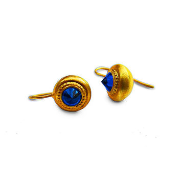 Beautiful Pyramid Gold Plated Earrings With Blue Sapphire Zircon | Rare Handcrafted Jewelry