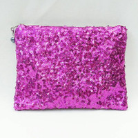Hot Pink Sequin Clutch/Makeup/Toiletries Bag Glittery Sparkly Metallic Fuchsia Sequins With Beige Zipper & Optional Color Bead Zipper Pull