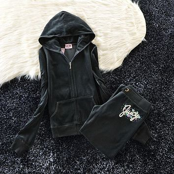Juicy Couture Studded Colorful Flowers Velour Tracksuit 6012 2pcs Women Suits Dark Grey