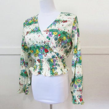 Vintage 70s Blouse Peasant top Large