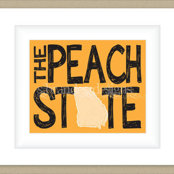 8x10 Georgia Print, The Peach State Typography Art Custom Color Map Art