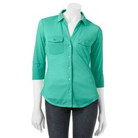 Candie's® Ribbed Slubbed Button-Front Top - Juniors