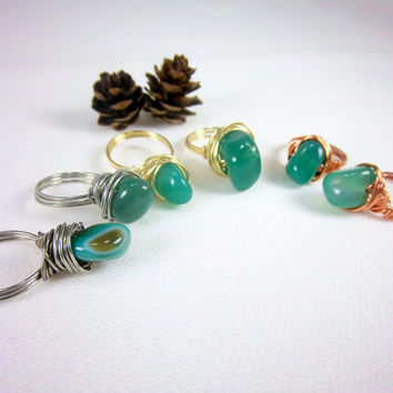 Spring Agate Ring Wire Wrapped Ring Gemstone Ring Green Ring Copper Ring Gold Ring Silver Ring Agate Gemstone Rings Woodland Hippie Jewelry