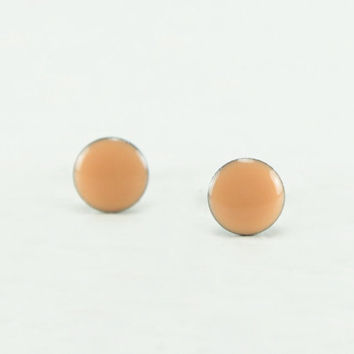 PEACH Stud Earrings - Peach Earrings - Peach Ear Studs - Peach Waterproof Earrings Stud - Peach Studs - Surgical Steel Post  4mm / 6mm / 8mm