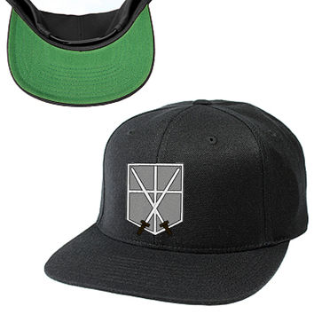 ATTACK ON TITAN, SHINGEKI NO KYOJIN, SNK, MILITARY POLICE SNAPBACK HAT, EMBLEM, LOGO, CROSSED SWARDS