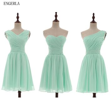 ENGERLA Pleated Short Chiffon Bridesmaid Dress Mint Green 2017 Knee Length Wedding Bridesmaid Gowns 100% Real Pictures