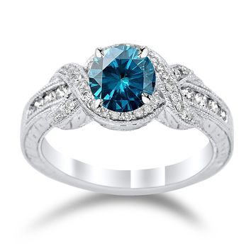 CERTIFIED | Twisting Channel Set Knot Diamond Engagement Ring with a 1 Carat Blue Diamond Heirloom Quality Center (Platinum, Yellow, White, Rose)