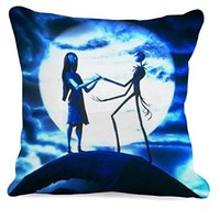 Jack and Sally Nightmare Before Christmas Romance Movies Pillow Case (16 x 16 one side)