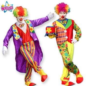 NoEnName Free Shipping  Adult Funny Circus Clown Costume Naughty Harlequin Uniform Fancy Circus Dress Cosplay Clothing for Adult