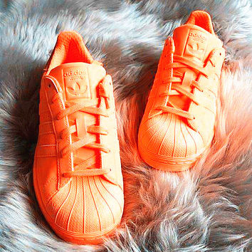 """Adidas"" Fashion Shell-toe Flats Sneakers Sport Shoes Pure color Orange"