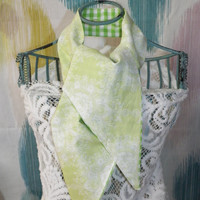 Blue Fans or Green Lace Ascot Scarf or Tie Up Head Wrap Reversible Choose Your Print