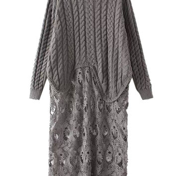 Gray Round Neck Asymmetric Hem Lace Panel Knit Sweater