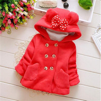 Minnie Mouse Autumn Winter Children's Clothing Baby Girl's Coats Thick Bow Cute Jacket Children Outerwear Hooded roupas de bebe