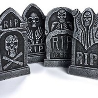 Halloween Decoration Party Decor New Graveyard Foam Tombstone RIP Pack Of Four