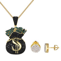 Money Bag Pendant Earrings Black Green Simulated Diamond Hip Hop Gold Tone Chain