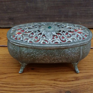 Vintage Silver Toned Ornate Footed Trinket Box With Red Velvet Lining Perfect for Jewelry Storage Gift Giving Proposal