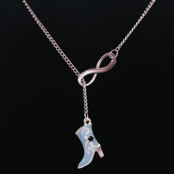 Infinity Blue Boot Cowboy Cowgirl Country Western Ranch Girl Y Lariat Necklace