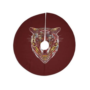 "Frederic Levy-hadida ""Stencil Tiger 1"" Brown Blue Digital Tree Skirt"