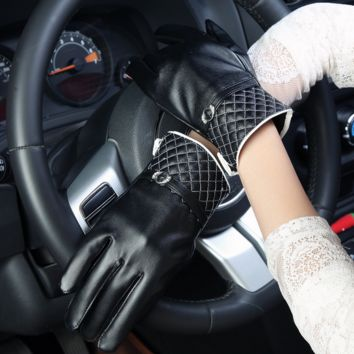 Womens Black Leather Driving Touched Screen Warm Gloves