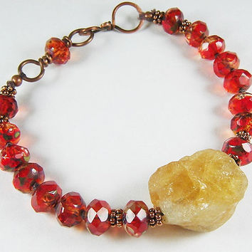 Raw Crystal Citrine Bracelet with Jell-O Picasso Beads, Rustic Beaded Bracelet