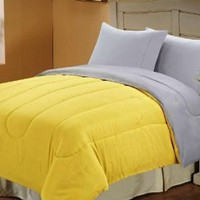 Multiple Sizes & Colors - Down Alternative Reversible Comforter Yellow/Grey - Full/Queen