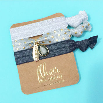 Embellished Charm and Tassel Hair Tie Bracelet Set in Navy, Cobalt Moroccan Print and Tan on Gold Foil Cardstock