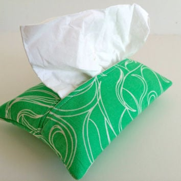 Travel Tissue Holder Kleenex Pouch in Green Paisley
