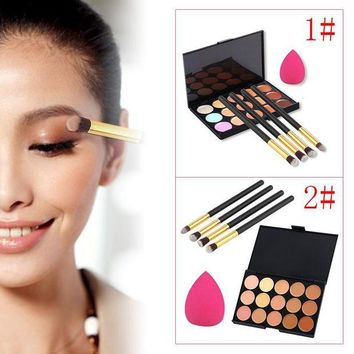 LMF57D 15 Color Concealer Contour Concealer Palette +4 Power Brush+ 1Sponge Puff Face Cream Naked Cover Bronzer Makeup Set Maquiagem