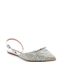 Metallic-Jacquard Pointed-Toe Flats