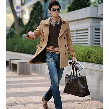 Khaki 2017 new winter Double breasted wool coat men youth fit slim mens pea coat woolen fashion handsome coats cashmere S - 3XL
