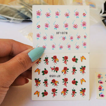 5 sheets of spring flower nail decal, water transfer nail art,Floral Nail Design,Flower Nails,Spring Nail art,Summer Nails,Red Nail art,Nail