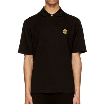 Versace Black And Gold Medusa Embroidered Polo Shirt