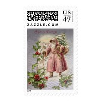 Vintage Santa Carrying a Christmas Tree w Holly Postage Stamp