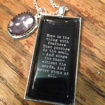 Emily Dickinson Necklace, Emily Hope Charm, Emily Dickinson Charm, Emily Dickinson, Emily Dickinson Quote, Literary Quote, Book Quote