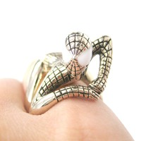 Realistic Spiderman Wrapped Around Your Finger Ring in Shiny Gold | US Size 8 and 9