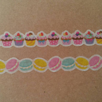 Die cut cupcake / macaron washi sample (look in description for availability)