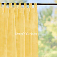 2 Panels YELLOW Sheer Chiffon Curtain - Shabby Chic Curtains - Panel Window Treatment - Curtains Panels