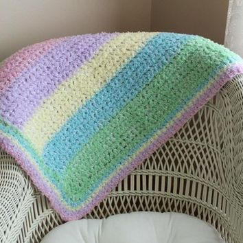 Baby Blanket, Infant Blanket, Toddler Blanket, Handmade, Crochet, Crocheted Baby Blanket, Nursery, Bedding, Pastels, Little Girls Blanket