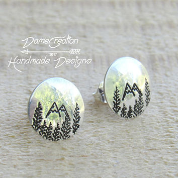 Mountain Stud Earrings, Stud Earrings, Sterling Silver, Silver Stud Earrings, Nature Jewelry, Mountain Jewelry, Nature Stud Earrings