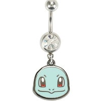 14G Steel Pokemon Squirtle CZ Navel Barbell