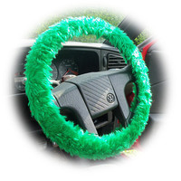 Emerald Green faux fur fluffy fuzzy furry car Steering wheel cover