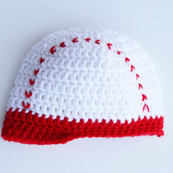 Baseball Hat, Crochet Photo Prop, 3 to 6 months, Ready to Ship
