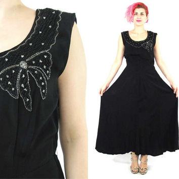 1930s Evening Dress 30s Black Beaded Evening Gown Sequin Bow Dress Sleeveless Bias Cut Crepe Maxi Dress Art Deco Formal Prom Dress (S/M)