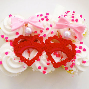 Pink, Pearl, and Red Sweetheart Earrings